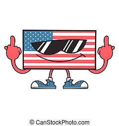 american flag with sunglasses giving the middle fingers
