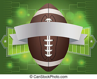 An american football and banner with field background. Vector EPS 10 available. EPS file contains transparencies.