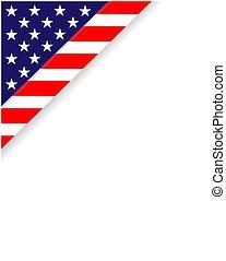 American frame corner with USA flag symbols.