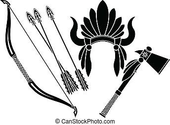 american indian headdress, tomahawk