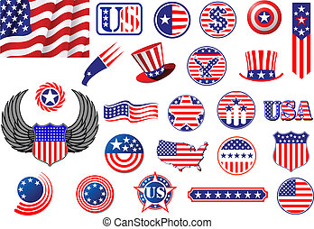 American patriotic badges, symbols and labels