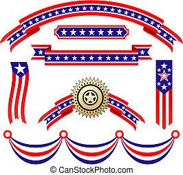 American patriotic ribbons set for design and decorate