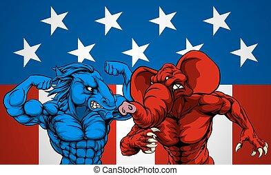 American Politics Elephant Donkey Fight
