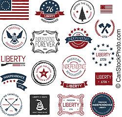 Vintage American revolutionary war badges, labels and designs