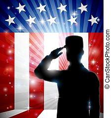 American Soldier Saluting Flag Patriotic Design