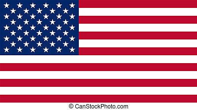 American USA Flag With Real Colours And Proportions Vector Illustration