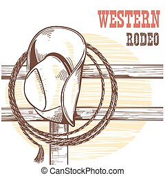 American West cowboy hat and lasso on wood fence. Rodeo illustration