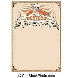 American western background with boots and cowboy hat symbol.
