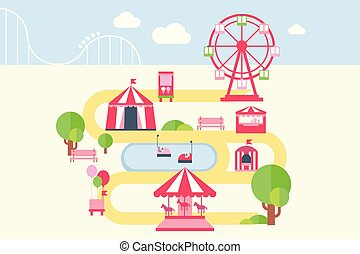 Amusement park map infographic elements, attractions and carousels vector illustration in flat style