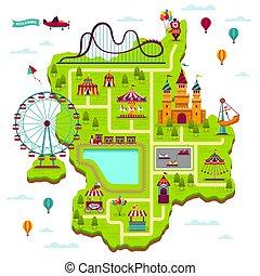 Amusement park map. Scheme elements attractions festival amuse funfair leisure family fairground kid games cartoon map