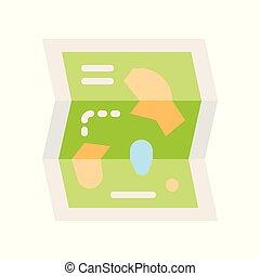 Amusement park map vector icon, amusement park related flat style