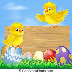 Easter chicks and wooden sign