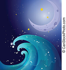 An image of a big wave and a moon