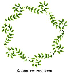 Plant Vine Leaves Frame Wreath Border