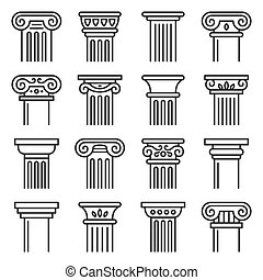 Ancient Columns Icon Set. Line Style Vector
