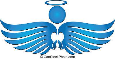 Blue angel praying logo vector