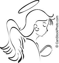 Angel praying to god