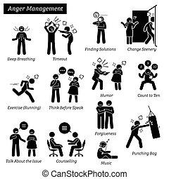 Anger Management Stick Figure Pictogram Icons.