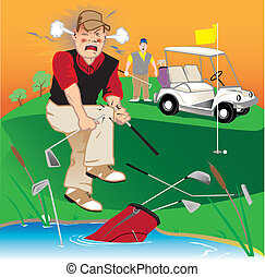 Golfer swearing, breaking clubs and throwing them into the lake