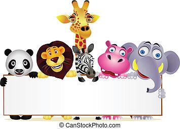Animal cartoon and blank sign