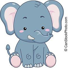 Animal Elephant Sit Illustration