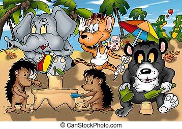 Animals on the Beach - Cartoon Illustration, Bitmap