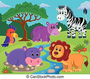 Animals topic image 2 - eps10 vector illustration.