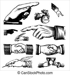 set of antique hands engravings, scalable and editable vector illustrations;