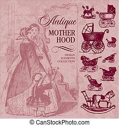 antique motherhood set (vector)