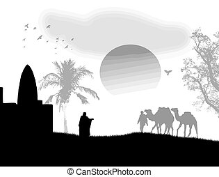 Vector illustration in Sahara with bedouins, mosque and camels, on black and white