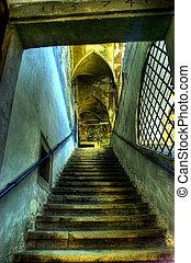 Architecture of old corridor
