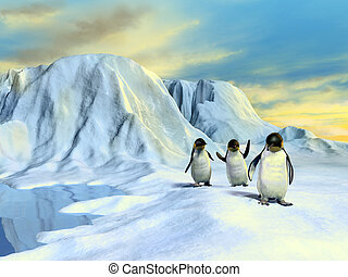A group of cute penguins walking in an arctic landscape. Digital illustration.