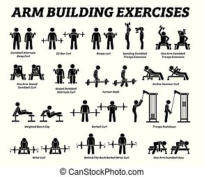 Arm building exercises and muscle building stick figure pictograms.
