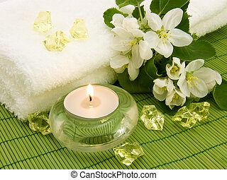 Body relax composition with aromatic candle and crystal for aromatherapy
