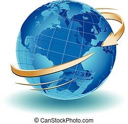 an arrow turning around the world