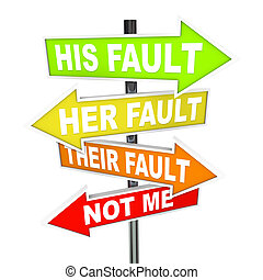 Several colorful arrow street signs with words Not Me - His, Her and Their Fault, symbolizing the twisting of the truth and shifting of blame