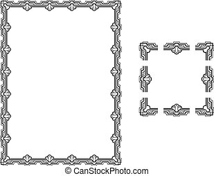 A Vector illustration of a Art Deco Style border frame; comes with seamlessly tillable component parts so you can make a frame to any size or aspect ratio.