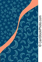 Art for postcard with bright orange stripe symbolizing dawn and crescent-filled and star parts
