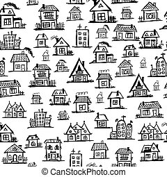 Art houses, seamless background for your design