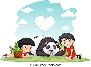 Asian boy and girl sitting with panda