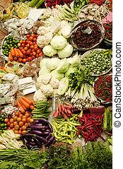 Asian fresh vegetables market at Kelantan State, Malaysia.