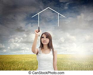 asian girl home concept