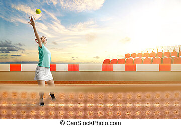 Asian tennis player woman with a tennis racket and ball in her hands serving the ball