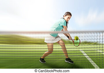 Asian tennis player woman with a tennis racket in her hands hit the ball