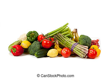 Assorted vegetables and fruits including asparagus, celery, tomatoes, peppers, bananas, lemons, cauliflower, cherry tomatoes, broccoli, cucmber and squash on a white background