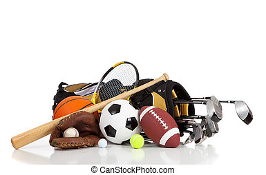 Assorted sports equipment on a white background with copy space