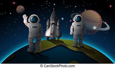Astonauts and earth scene