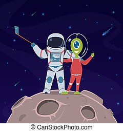 Astronaut and alien selfie. Friendship between spaceman and alien humanoid on remote space planet cartoon vector childish concept