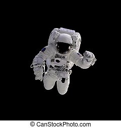 Flying astronaut on a black background. Some components of this image are provided courtesy of NASA, and have been found at nasaimages. org