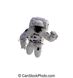 Flying astronaut on a white background. Some components of this image are provided courtesy of NASA, and have been found at nasaimages. org